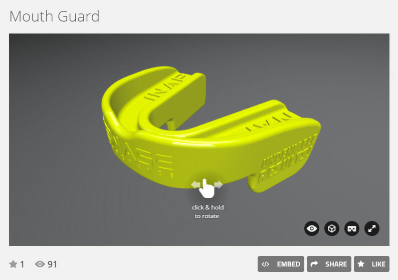 Virtual reality rendering of mouth guard